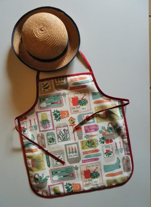 Tablier enfant motifs jardin 2 4 ans tissu breizh rainette - Tablier jardinage enfant ...