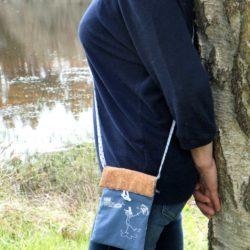 sac bandoulière liège-tissu bleu gris -BREIZH RAIN'ette-produit breton