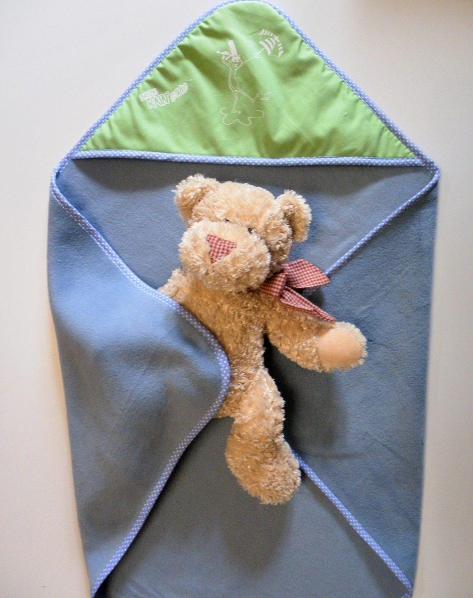 couverture polaire bébé bleue et verte .Breizh RAIN'ette-Produit breton