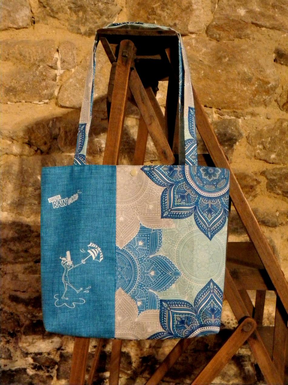 Sac Fleur Breizh Turquoise De Rain'ette Enduit Vie Coton c3F1lTKJ