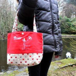 Petit sac rouge coeurs.BREIZH RAIN'ette-Produit breton